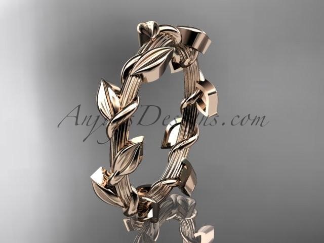 wedding photo - Unique 14kt rose gold leaf and vine wedding ring ADLR248G