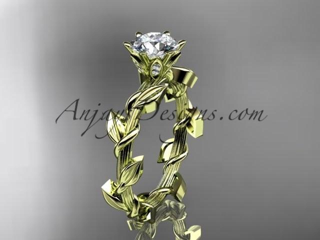 wedding photo - Unique 14kt yellow gold diamond floral wedding ring,engagement ring ADLR248