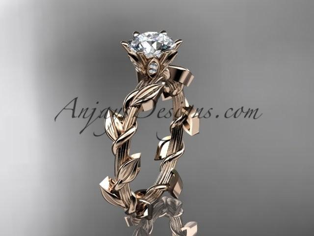 wedding photo - Unique 14kt rose gold diamond floral wedding ring,engagement ring ADLR248