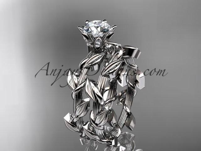 wedding photo - Unique platinum diamond floral wedding ring, engagement set ADLR248S