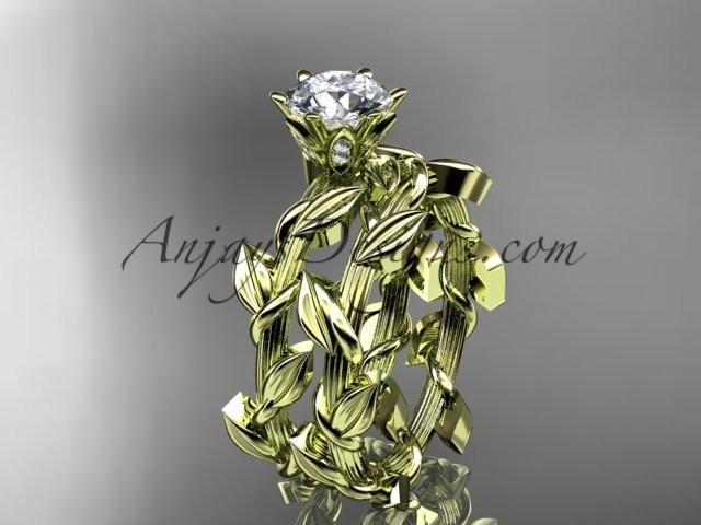 wedding photo - Unique 14kt yellow gold diamond floral wedding ring, engagement set ADLR248S
