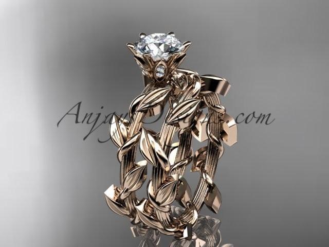 wedding photo - Unique 14kt rose gold diamond floral wedding ring, engagement set ADLR248S