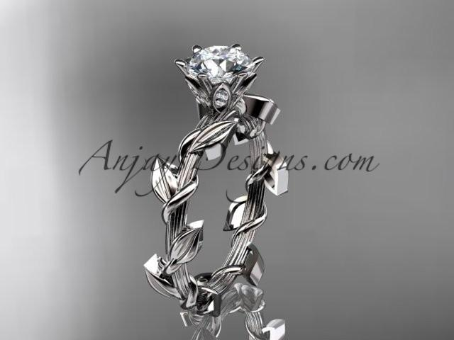 wedding photo - Unique 14kt white gold diamond floral wedding ring, engagement ring ADLR248