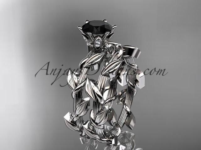 wedding photo - Unique platinum diamond floral engagement set with a Black Diamond center stone ADLR248S