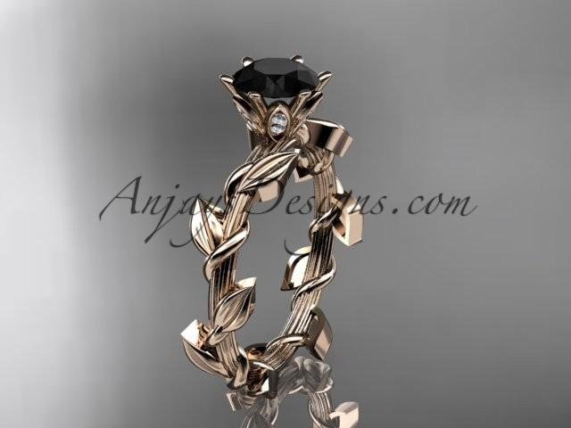 wedding photo - Unique 14kt rose gold diamond floral wedding ring,engagement ring with a Black Diamond center stone ADLR248