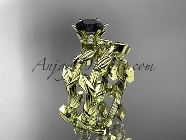 wedding photo - Unique 14kt yellow gold diamond floral engagement set with a Black Diamond center stone ADLR248S