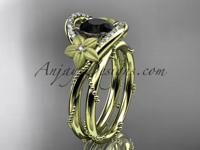 wedding photo - 14kt yellow gold diamond unique engagement set with a Black Diamond center stone ADLR166S