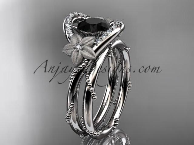 wedding photo - 14kt white gold diamond unique engagement set with a Black Diamond center stone ADLR166S