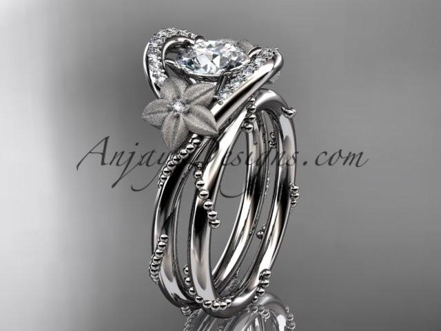 "wedding photo - platinum diamond unique engagement set with a ""Forever One"" Moissanite center stone ADLR166S"