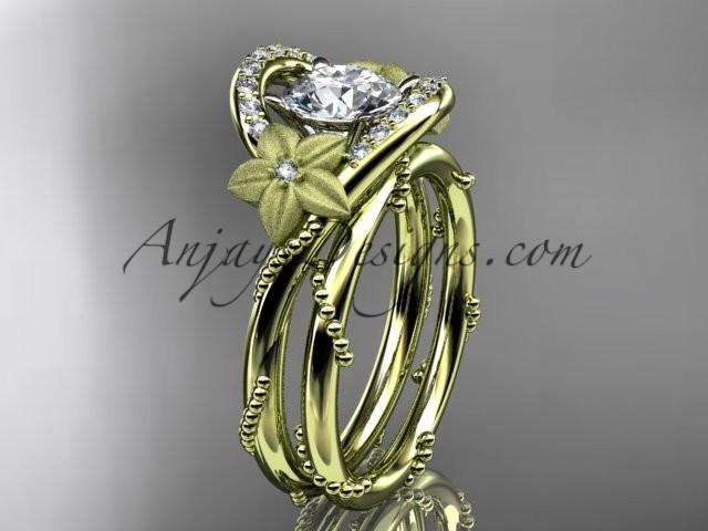 "wedding photo - 14kt yellow gold diamond unique engagement set with a ""Forever One"" Moissanite center stone ADLR166S"