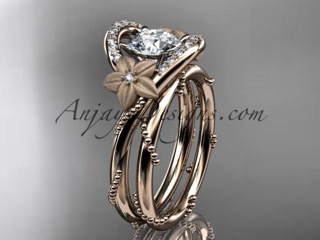 "wedding photo - 14kt rose gold diamond unique engagement set with a ""Forever One"" Moissanite center stone ADLR166S"