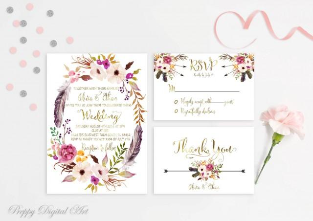 Boho Chic Wedding Invitations: Floral Wreath Wedding Invitation Boho Chic Wedding Suite