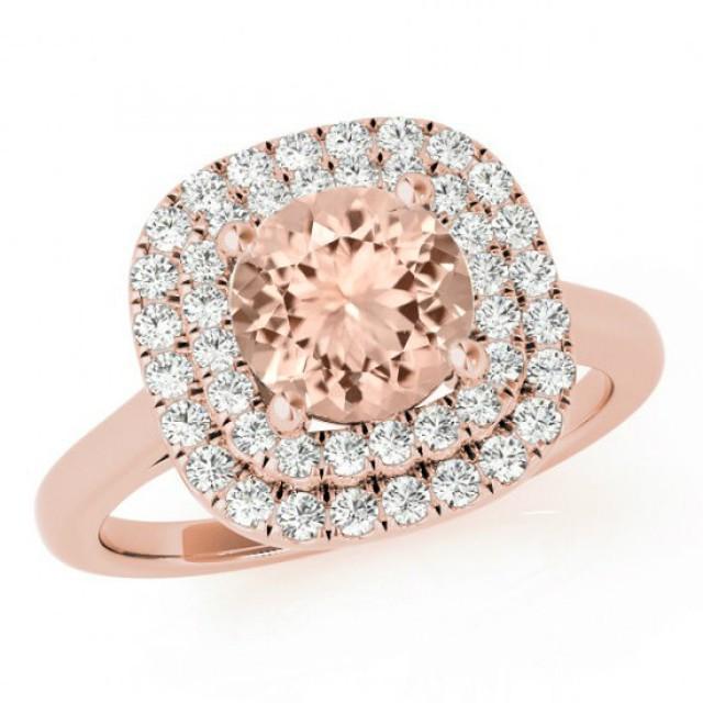 3 Carat Morganite & Diamond Double Halo Engagement Ring 14k Rose Gold M