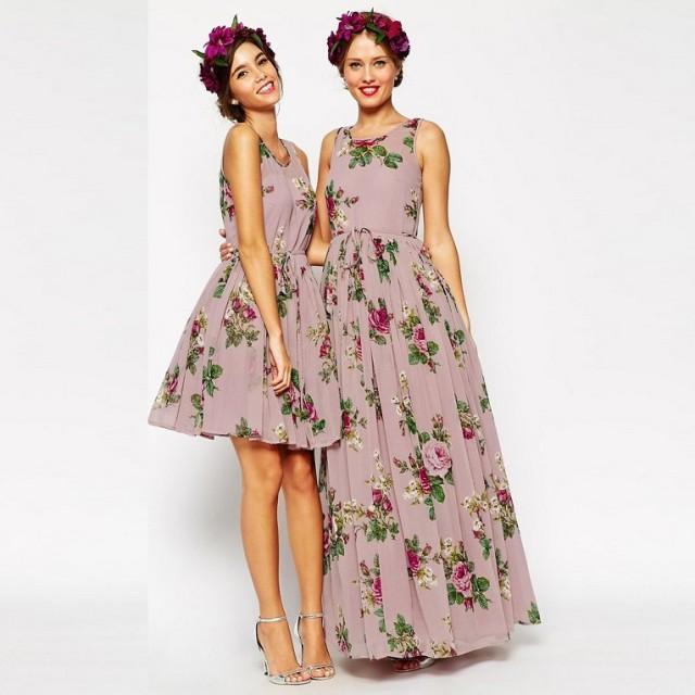 wedding photo - New Arrival Short/Floor Length Floral Bridesmaid Dresses Under 100