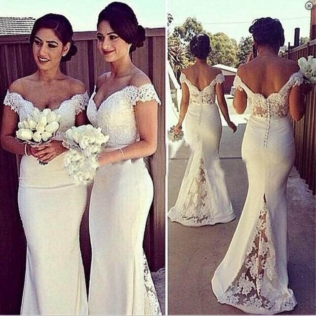wedding photo - Elegant Mermaid Off-the-Shoulder Floor Length Lace White Bridesmaid Dress