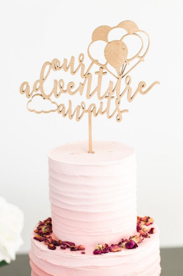 Our adventure awaits gold cake topper one 6 wood for Baby footprints cake decoration