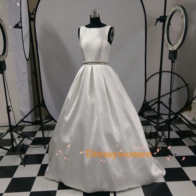 wedding photo - Scoop Elegant Style Satin A-line Wedding Dresses CHWD-30236 with Beading