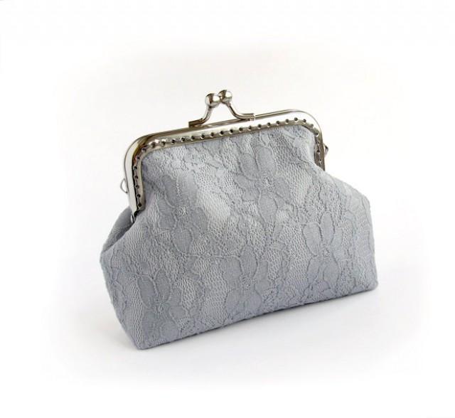 Gray Bridal Lace Purse Silver Wedding Bridesmaid Small Clutch With Kisslock #2537472 - Weddbook
