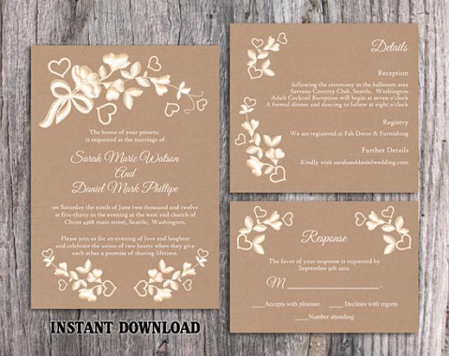diy lace wedding invitation template set editable word file download printable rustic wedding. Black Bedroom Furniture Sets. Home Design Ideas