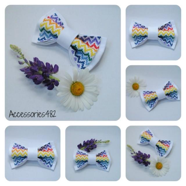 wedding photo - Mens bow tie Embroidered rainbow chevron bowtie For groom White bow tie Summer wedding Gift idea him Colorful bowtie Groomsmen bow ties PBW1