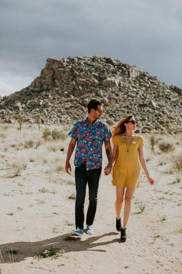 wedding photo - This Cali Cool Joshua Tree Engagement Is Full Of 1970s Vibes