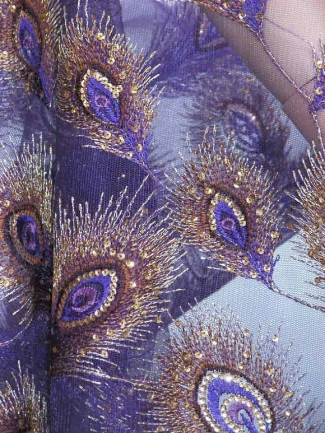Purple Peacock Sequin / Sequined JFabric For Luxury Gown ...