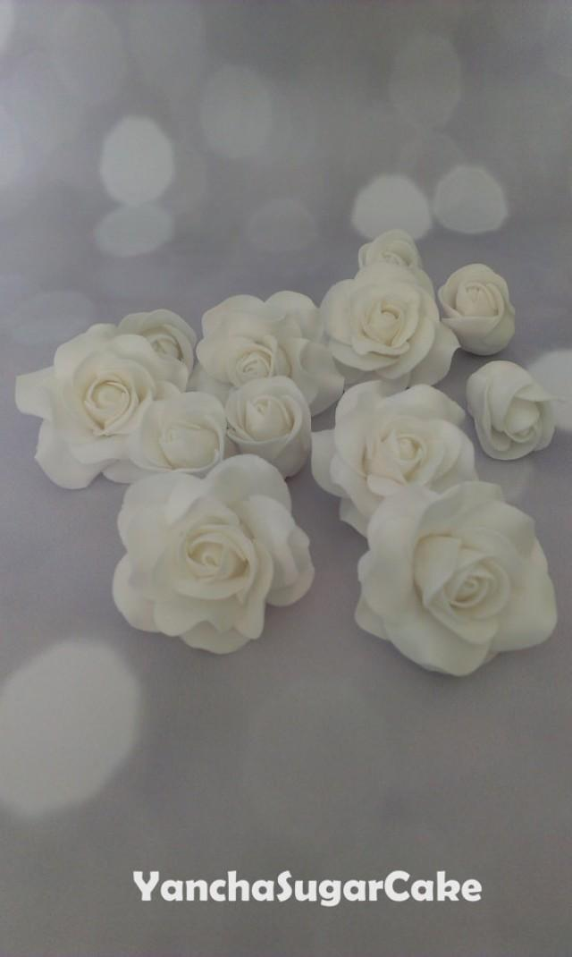 wedding photo - Fondant gumpaste edible flowers Roses, Wedding flowers, Wedding favor, Bridal shower, Christening, Cake topper, Cupcake topper, Baby shower