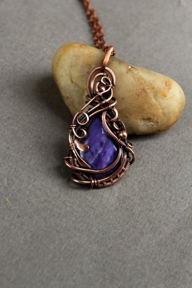 Natural Stone Jewelry : Charoite pendan modern necklace artisan jewelry handmade