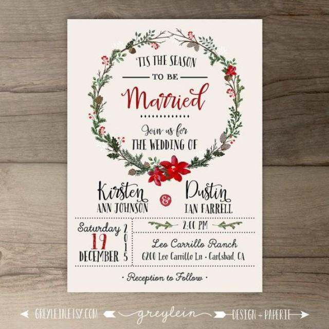 Winter Wedding Invitations Wreath Tis The Season To