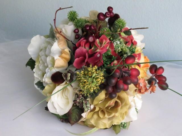 Fall Wedding Bouquets Fake : Autumn wedding bridal bouquet silk flowers