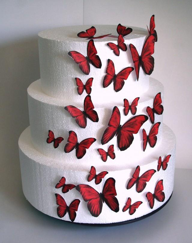 Cake Decorations Edible Photos : Edible Butterflies Wedding Cake Topper, Red Edible ...