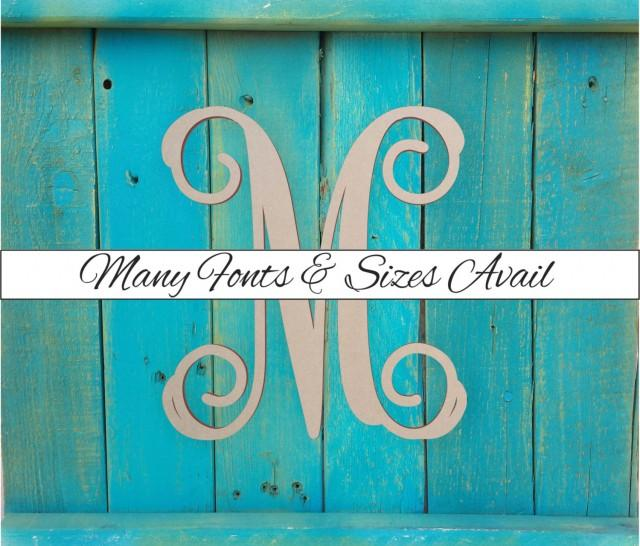 Wooden monogram letter m large or small unfinished for Small wooden letters for crafts