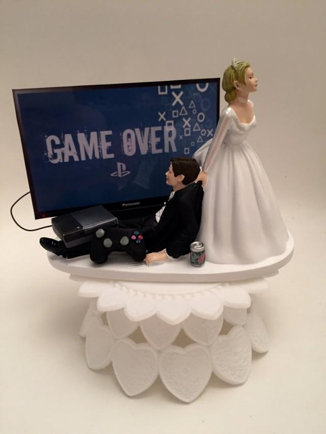 GAME OVER Bride And Groom PS4 Funny Wedding Cake Topper Video Game Grooms Cake 2542078