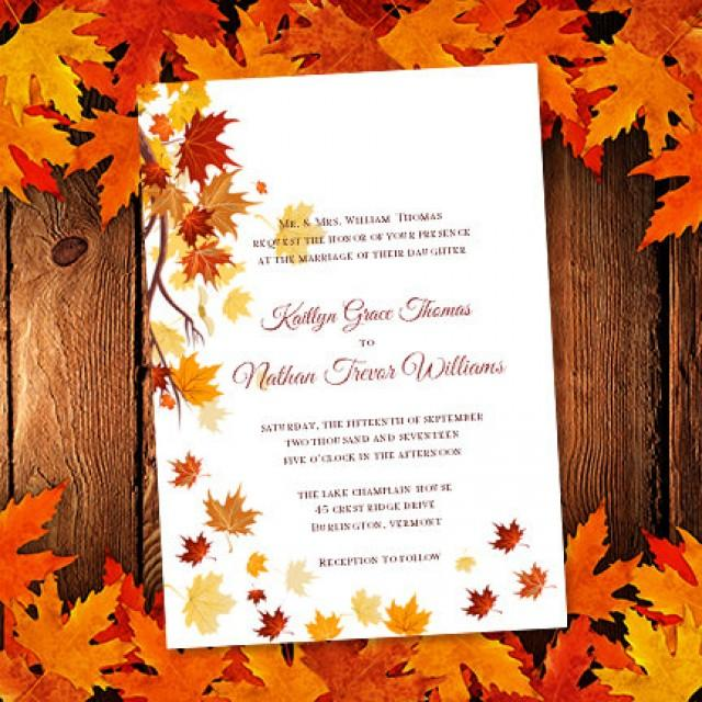 """Do Your Own Wedding Invitations: Printable Wedding Invitation Template """"Falling Leaves"""