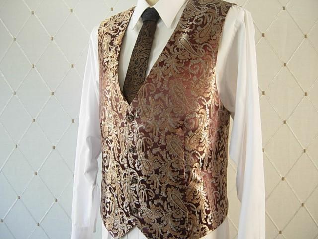 Men's Vest, Brocade, Brown Vest, Gold Vest, Wedding Vest ...