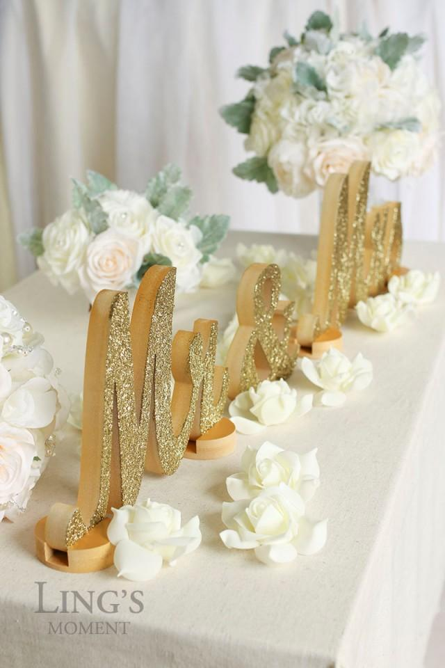 Glitter Letters Mr And Mrs Sweetheart Table Champagne