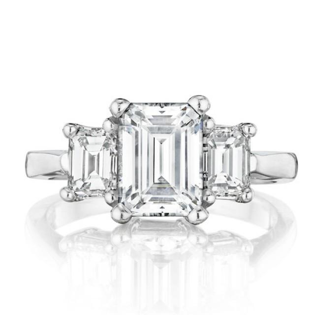 Emerald Forever Brilliant Moissanite Three Stone Ring 14k