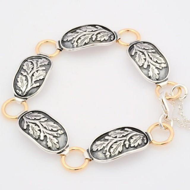 wedding photo - Silver and Gold Floral Bracelet, Sterling Silver Oval Link Bracelet, Gold Links Bracelet, Silver leaf Bracelet, Antique leaf Bracelet