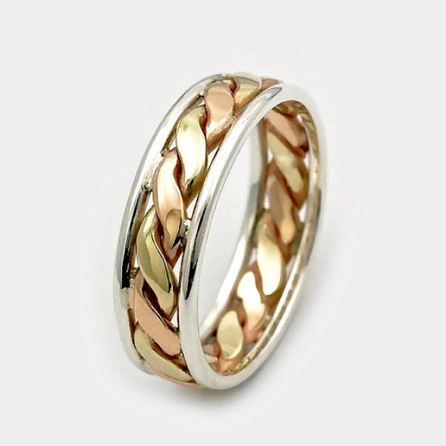 wedding photo - Mens wedding bands, Father's Day sale, 9ct Twist Gold Ring, Three Tone Gold Silver Ring, Gift for Him, Men's Wedding Band, Gold Twist Ring