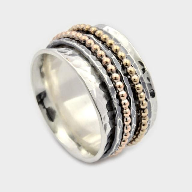 wedding photo - Five Band Spinner Ring, Silver and Gold Spinner Ring, Wide Spinner Ring, Meditation Ring, Worry Ring, Silver Fidget Ring, spinner band ring