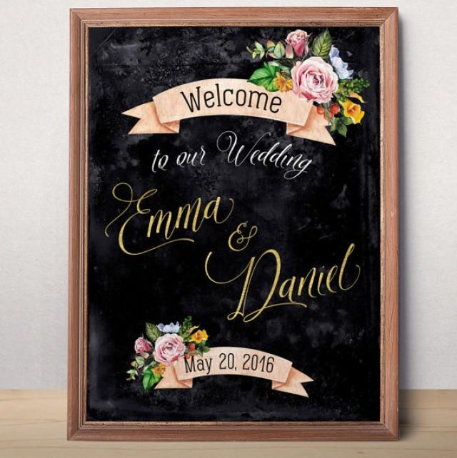wedding photo - Wedding Sign Printable Chalkboard Gold Wedding Welcome sign Personalized Wedding Sign Welcome to our wedding Rustic floral wedding printable