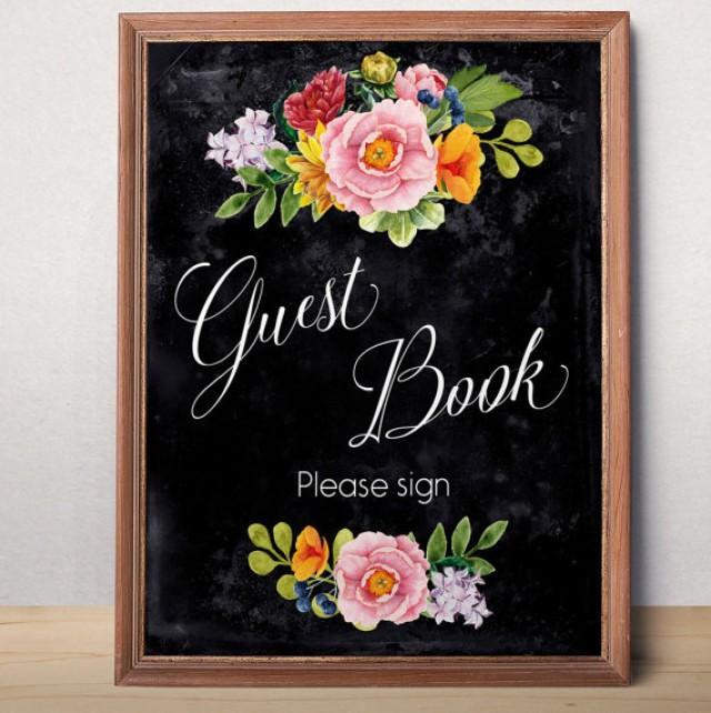 wedding photo - Wedding guest book sign Printable wedding sign Guest book sign printable Chalkboard Wedding decor Instant download Reception Floral sign