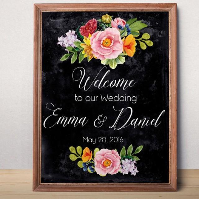 wedding photo - Chalkboard Wedding Sign Printable Wedding Welcome sign Custom Wedding Sign Welcome to our wedding Rustic floral wedding sign printable