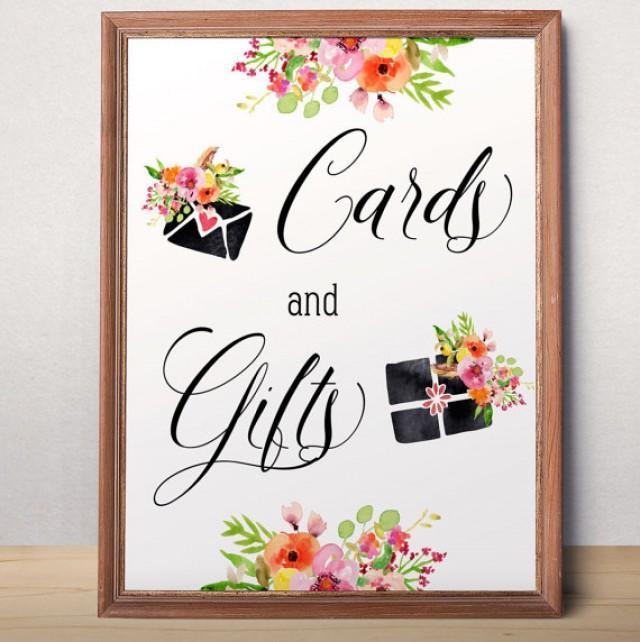 wedding photo - Wedding cards and gifts sign Cards and Gifts printable Wedding sign Wedding decor Floral cards and gifts sign Reception cards and gifts