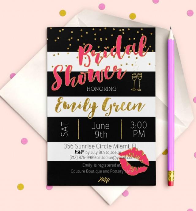 wedding photo - Bridal Shower Invitation Pink Instant Download Bridal Brunch Printable Bridal Shower Invite Black White stripes Gold Invitation idb26