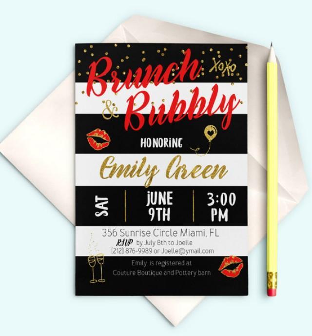 wedding photo - Brunch and Bubbly Bridal Shower Invitation Bridal Brunch Printable Red Bridal Shower Invite Black White stripes Gold Invitation idb25