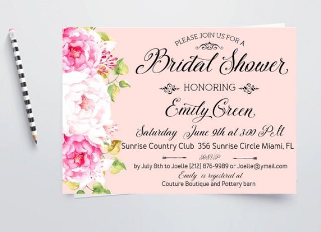 wedding photo - Romantic Bridal Shower Invitation Pink Printable Peony Bridal Brunch Horizontal Digital Invitation Modern Bridal Shower Invite idb21