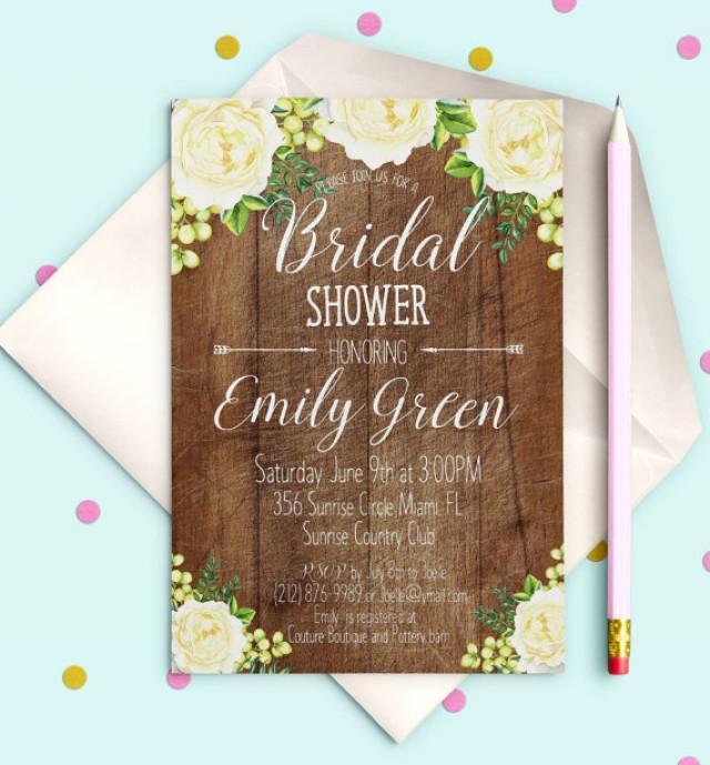 wedding photo - Bridal Shower Invitation Printable Rustic wooden Bridal Shower Invitation download White peonies Bridal Shower Invite Bridal Shower idb22
