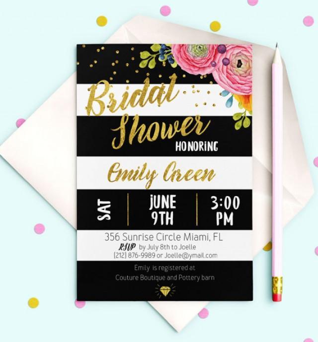 wedding photo - Black White stripes Bridal Shower Invitation Printable Gold Bridal Brunch Modern Bridal Shower Invite Printable Floral Bridal Shower idb19