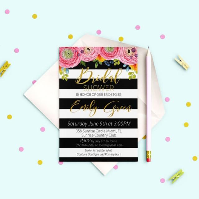 wedding photo - Striped Bridal Shower Invitation Gold Bridal Brunch Modern Bridal Shower Invite Printable Floral Black White stripes Bridal Shower idb18
